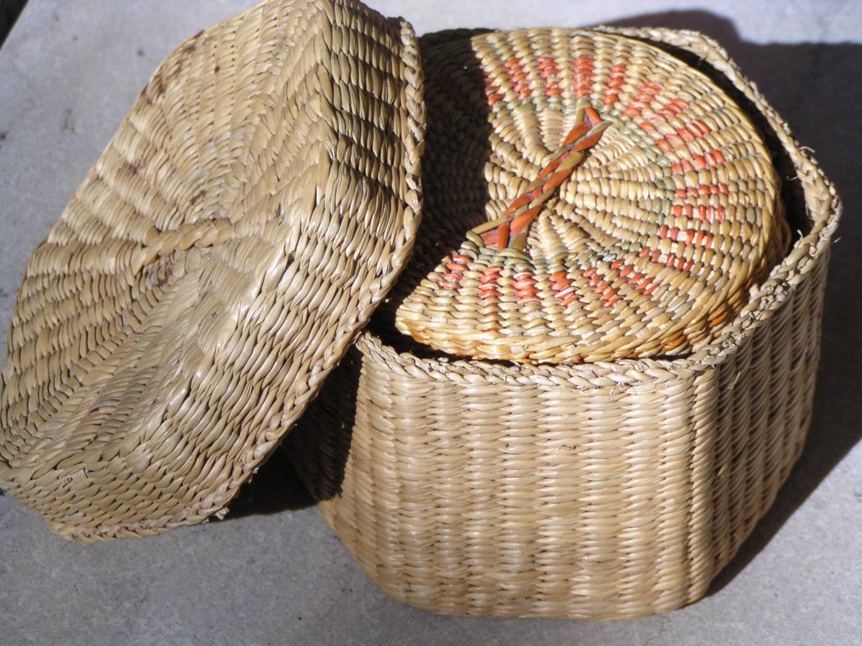 2 Miniature Handwoven Vintage Nesting Baskets With Lids