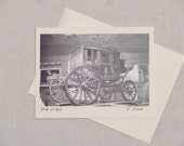 Old Stagecoach blank greeting card;  Framable photo card;  B & W photography wall art