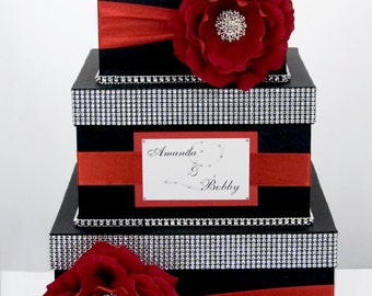 Wedding Card box / Card holder / Wedding money box - 3 tier - Personalized - Black and Red
