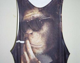 Smoking Chimpanzee Shirt Monkey Tank Monkey TShirt Animal T-Shirt Men Shirts Tank Tops White Sleeveless T-Shirts Singlet M