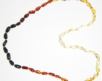 Baltic amber adult necklace rainbow color olive beads 60 cm / 23.62 inch 108