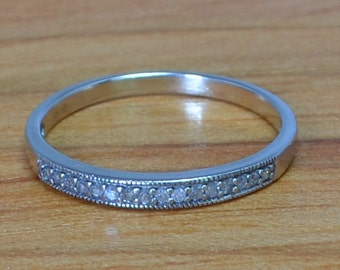 White Gold Channel Set Diamond Band // Vintage White Gold Wedding Ring // Eternity Diamond Wedding Band size 8