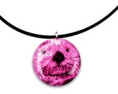 bright pink, Sea Otter art, pink, glass tile pendant, handmade, round, circle, hot pink and black colors