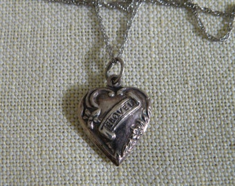 Sterling Silver I Love U Heart Pendant Necklace - 18 inch