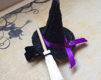 Mini Witch Hat with or without Broom Clip