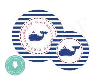 INSTANT DOWNLOAD Whale Party Circles (Nautical Birthday Decor, Printable Party Circles, Printable Whale Decorations, Stitched Whale)