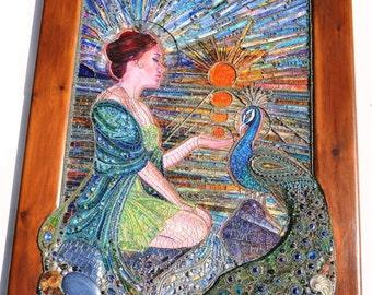 Custom order For Shelby - mixed media mosaic, mosaic art, painting, peacock
