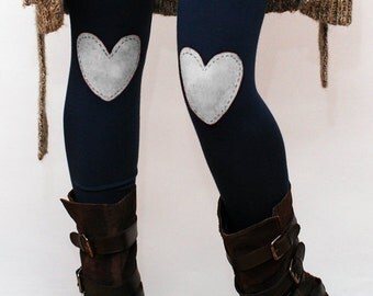 White heart patched leggings, tights in navy