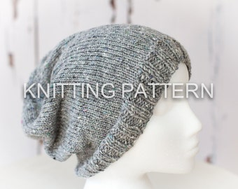 Knitting Pattern/DIY Instructions - Slouch Beanie Hat - Children, Adult, Aran weight yarn - Knit flat or in the round - UPDATED