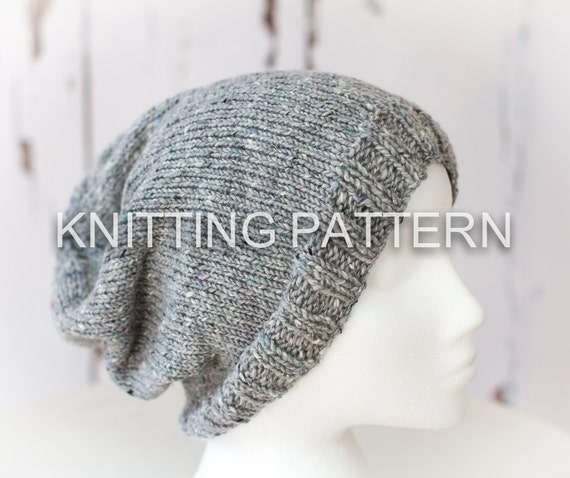 Knitting Pattern Diy Instructions Slouch Beanie Hat