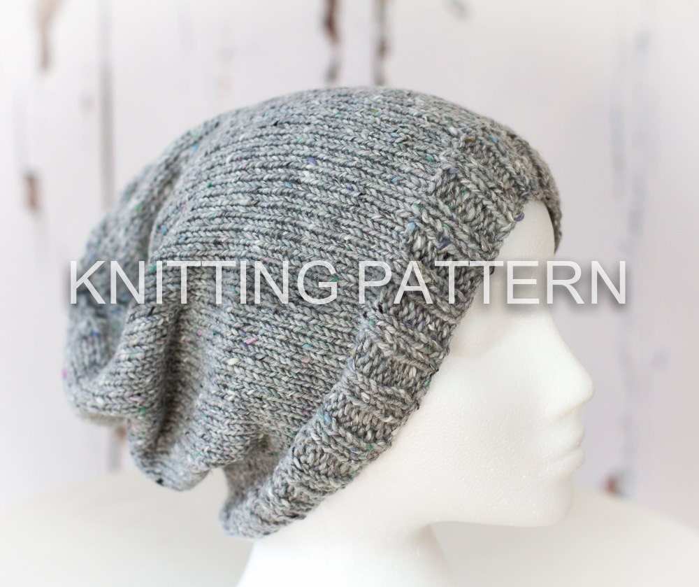 Knitting Beanie Patterns : Knitting pattern diy instructions slouch beanie hat