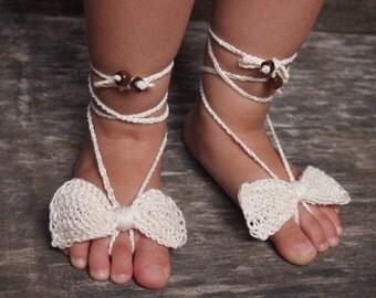 Baby Linen Barefoot, Cream Knitted/Crochet Baby Barefoot Sandals, Linen Bow Barefoot