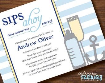 Sips Ahoy DIY Sip and See Invitation, Nautical Baby Shower Invite, printable digital file
