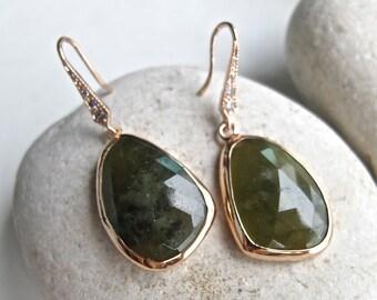 Rose Gold Earring- Green Sapphire Earring- Dangle Statement Earrings- September Birthstone Earrings- Drop Evening Earring- Green Earring
