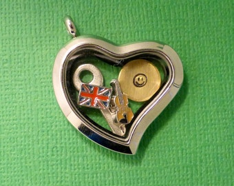 Sherlock Holmes Inspired - 221B Baker St. - A Floating Locket / Memory Locket / Living Locket - READY to SHIP