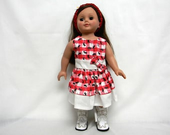 Red & White Gingham Ant Print Dress For 18 Inch Doll Like The American Girl