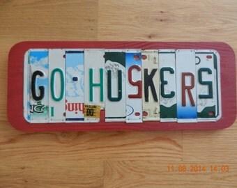 Go Huskers License Plate Sign (Nebraska Cornhuskers) (Made to order)