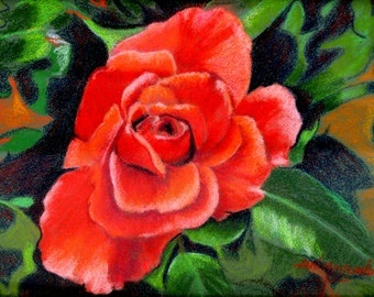 Rose Fine Art Giclee Print, Rose, Portrait of a Rose, Red Rose, Pastel Painting by Jan Maitland, Signed Archival Print, 5X7 Rose Image