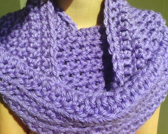 Crochet Infinity Scarf, Cowl Scarf, Loop Scarf -Lavender Purple- Circle Scarf, Women, Girl, Thick, Soft, Warm, Fluffy, Chunky