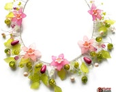 Fairy Garden - Pink Flower Statement Necklace by Selune Design / wedding / summer / spring / festival