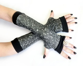 Grey Winter Arm Warmers, Fingerless Gloves with black edges - Very Soft Black and white Gloves, Hand Warmers , Cuffs , Victoriian , Goth