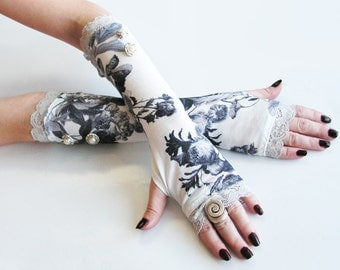 White Wedding floral  fingerless gloves with silver lace and pearl buttons - mittens, arm warmer, Goth,  Victorian, Classic,  bridal, damask