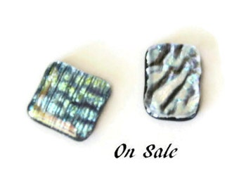 Fused dichroic glass cabochons - jewelry making supplies - set of 2 - on sale