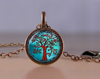 Jewelry - Lucky Penny Necklace Art - Tree of Life 7 - Choose Chain Length - Tree of Life Jewelry - Lucky Penny Jewelry - One Cent Jewelry