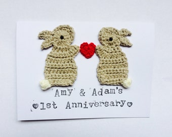 Personalised Anniversary/Wedding/Valentine Bunny Crochet Greeting Card