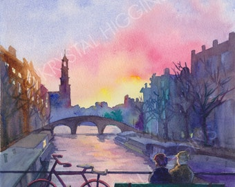 "ORIGINAL 11 x 14 Amsterdam Sunset -  ""Canals at Dusk"""