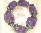 Amethyst Nugget Bracelet With Silver Accents Handmade Jewelry