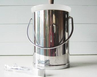 Chrome Ice Bucket, Mad Men Style, Vintage Barware, Retro