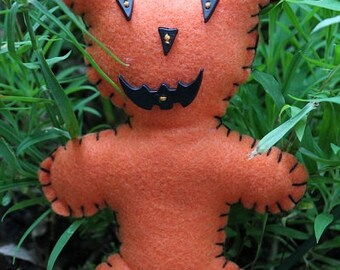 Teddy Bears-Pumpkin bear doll-Handmade bear-Halloween decor-primitive bear-jack o lantern bear-