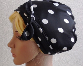 Satin Head Scarf , Polka Dot Headscarf, Hair Snood,Tichel, Sleeping Bonnet