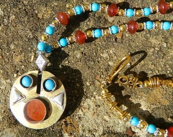 VERY RARE :Afghan face-like pendent on matching necklace