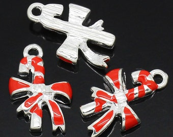 4 Pieces Silver Plated Red Enamel Christmas Candy Cane Charms
