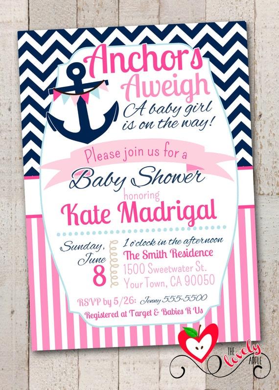 nautical baby shower printable invitation nautical girl baby shower