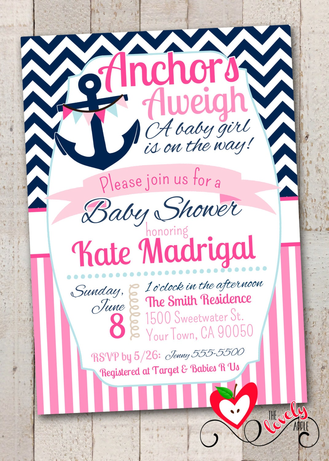nautical baby shower printable invitation by thelovelyapple