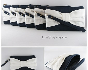 SUPER SALE - Set of 6 Navy with Ivory Bow Clutches - Personalized Monogram Zipper Pull, Bridal Clutches, Wedding Gift - Made To Order
