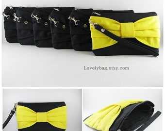 Set of 6 Wedding Clutches, Bridesmaids Clutches / ( 5 Black Bow and 1 Yellow Bow ) - MADE TO ORDER