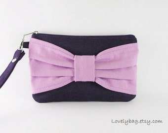 SUPER SALE - Navy with Lavender Bow Clutch - iPhone 5 Wallet, iPhone Wristlet, Cell Phone Wallet, Cosmetic Bag, Zipper Pouch - Made To Order
