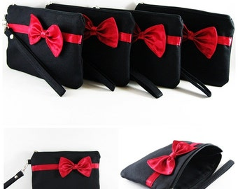 SUPER SALE - Set of 5 Black with Little Red Bow Clutches - Bridal Clutches, Bridesmaid Wristlet,Wedding Gift,Zipper Pouch - Made To Order