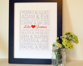 Valentine's gift for boyfriend 11x14 Famous couple print Famous couples subway art Wedding sign Engagement gift Gift for girlfriend