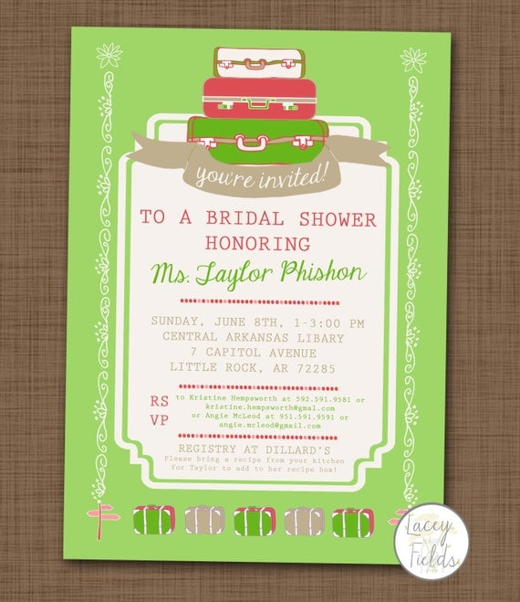 items similar to travel bridal shower invitation printable