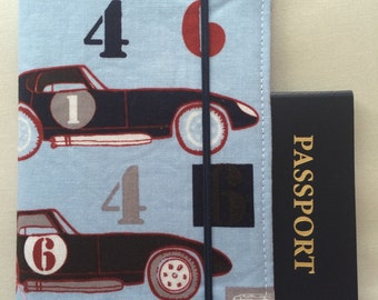 Laminated Passport Wallet - Speedster Race Cars- Blue- Plastic ID slot, 2 card pockets, and Elastic Closure