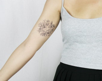 vintage black and white floral design temporary tattoo