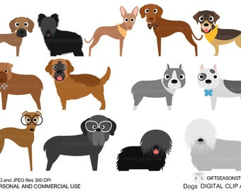 Dogs and Friends clip art part 9 for Personal and Commercial use - INSTANT DOWNLOAD