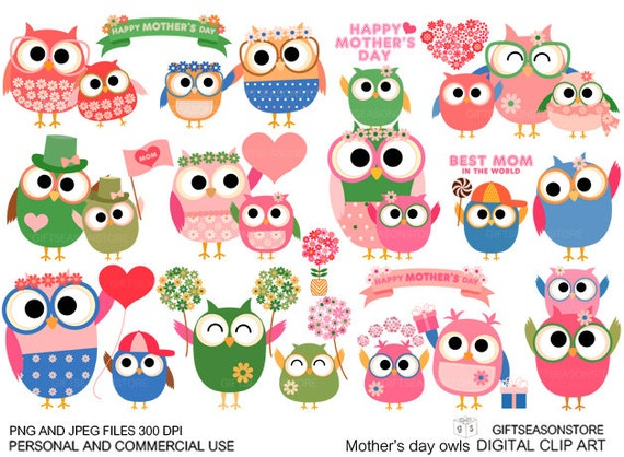 Mother's day owl Digital clip art for Personal and