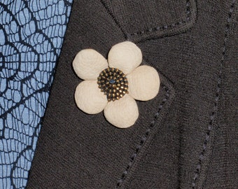 Genuine leather flower lapel pin, Mens lapel flower Boutonniere, Genuine Leather Lapel Flower pin,  boutonniere,  mens gift.