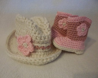 Crochet (0-3 mo) 3 Piece Baby Cowgirl Boots, Hat, Flower Headband Set, Infant Girl Western Theme Photo Prop Costume